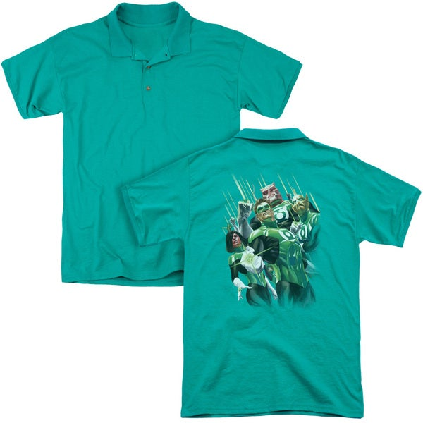 Gl/Power Of The Rings (Back Print) Mens Regular Fit Polo in Kelly Green