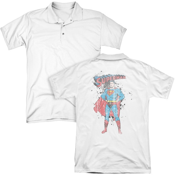 Superman/Vintage Ink Splatter (Back Print) Mens Regular Fit Polo in White