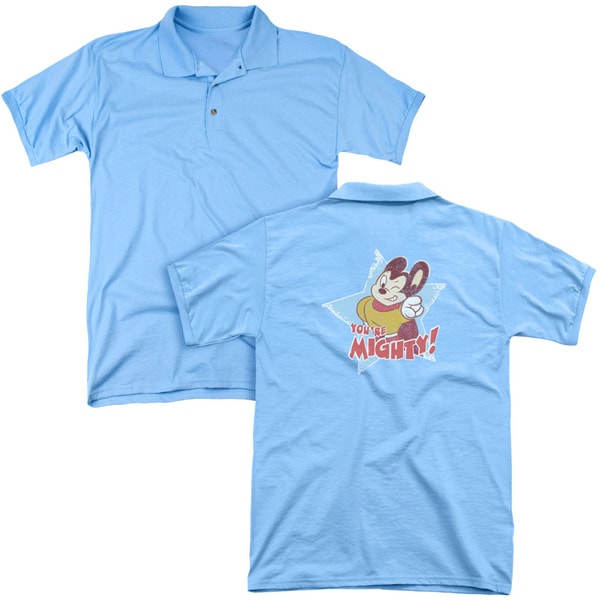 Mighty Mouse/You're Mighty (Back Print) Mens Regular Fit Polo in Carolina Blue
