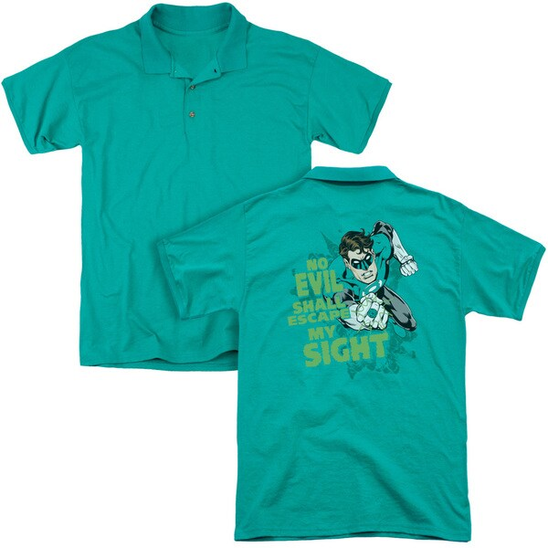 Green Lantern/No Evil (Back Print) Mens Regular Fit Polo in Kelly Green