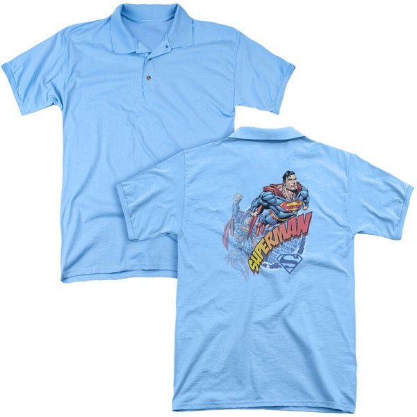 Superman/Up Up and Away (Back Print) Mens Regular Fit Polo in Carolina Blue
