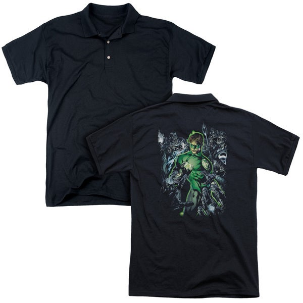 Green Lantern/Surrounded By Death (Back Print) Mens Regular Fit Polo in Black