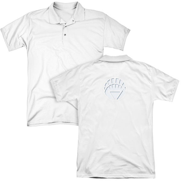 Green Lantern/White Lantern Logo (Back Print) Mens Regular Fit Polo in White