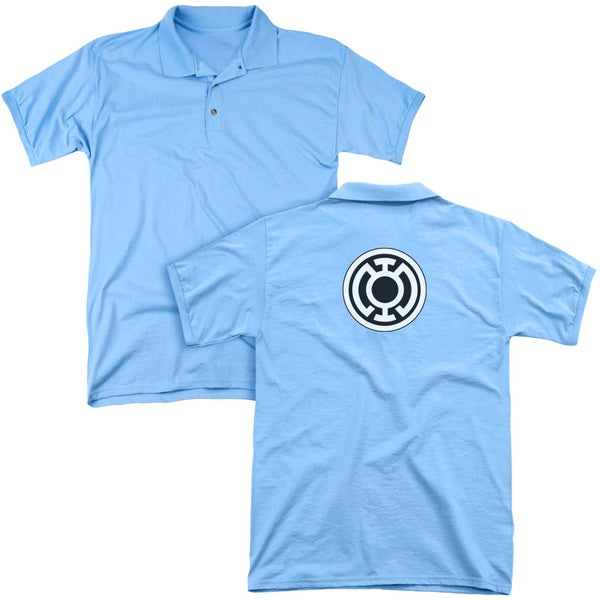 Green Lantern/Blue Lantern Logo (Back Print) Mens Regular Fit Polo in Carolina Blue
