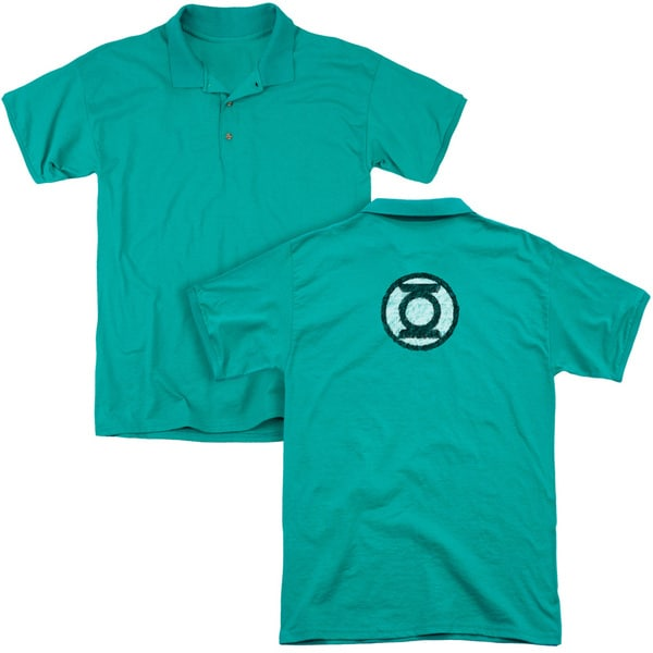 Green Lantern/Scribble Lantern Logo (Back Print) Mens Regular Fit Polo in Kelly Green