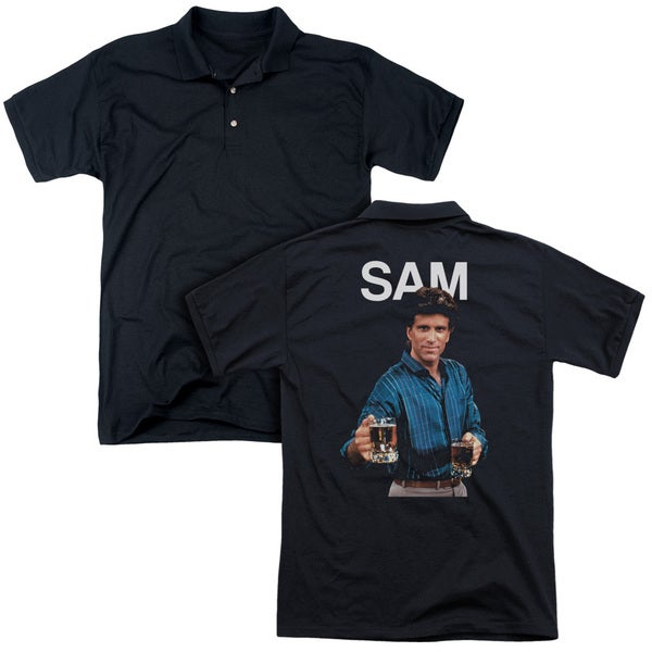 Cheers/Sam (Back Print) Mens Regular Fit Polo in Black