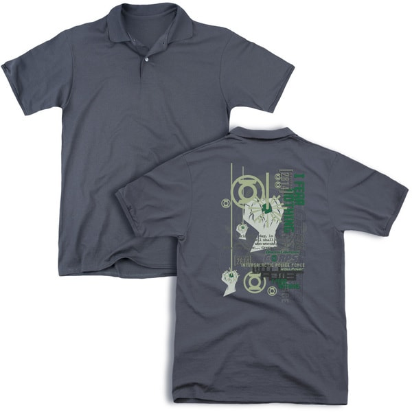Green Lantern/Core Strength (Back Print) Mens Regular Fit Polo in Charcoal