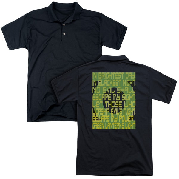 Green Lantern/Green Lantern Oath (Back Print) Mens Regular Fit Polo in Black