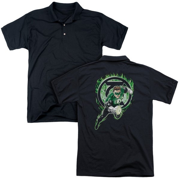 Green Lantern/Space Cop (Back Print) Mens Regular Fit Polo in Black