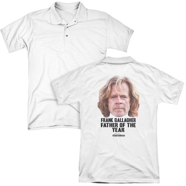 Shameless/Father (Back Print) Mens Regular Fit Polo in White