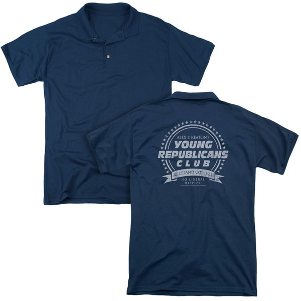 Family Ties/Young Republicans Club (Back Print) Mens Regular Fit Polo in Navy