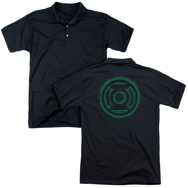 Green Lantern/Green Flame Logo (Back Print) Mens Regular Fit Polo in Black