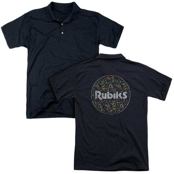 Rubik's Cube/Circle Pattern (Back Print) Mens Regular Fit Polo in Black