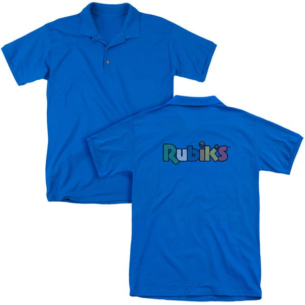 Rubik's Cube/Smudge Logo (Back Print) Mens Regular Fit Polo in Royal