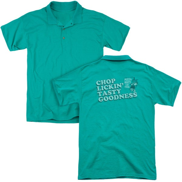 Puss N Boots/Chop Lickin Tasty Goodness (Back Print) Mens Regular Fit Polo in Kelly Green