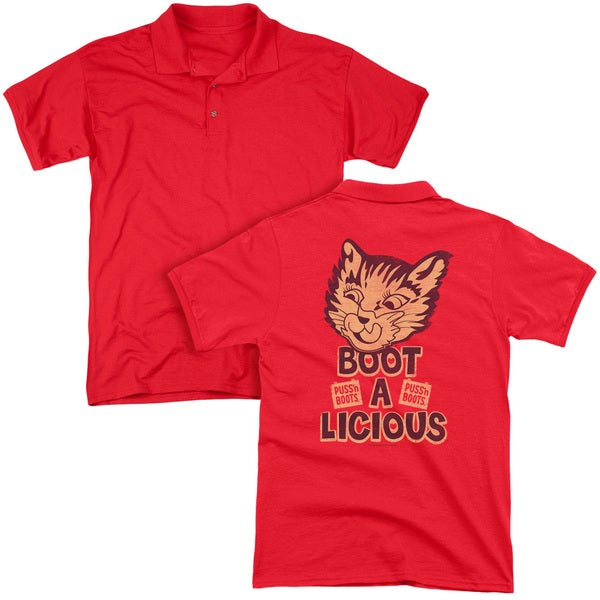 Puss N Boots/Boot A Licious (Back Print) Mens Regular Fit Polo in Red
