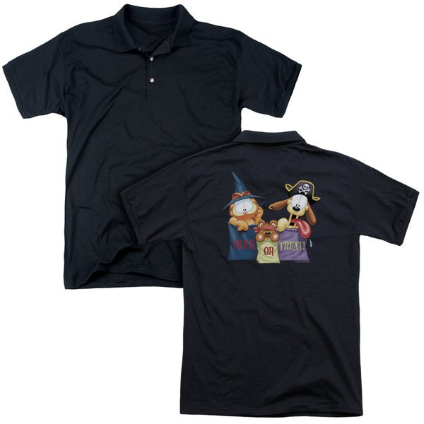 Garfield/Grab Bags (Back Print) Mens Regular Fit Polo in Black