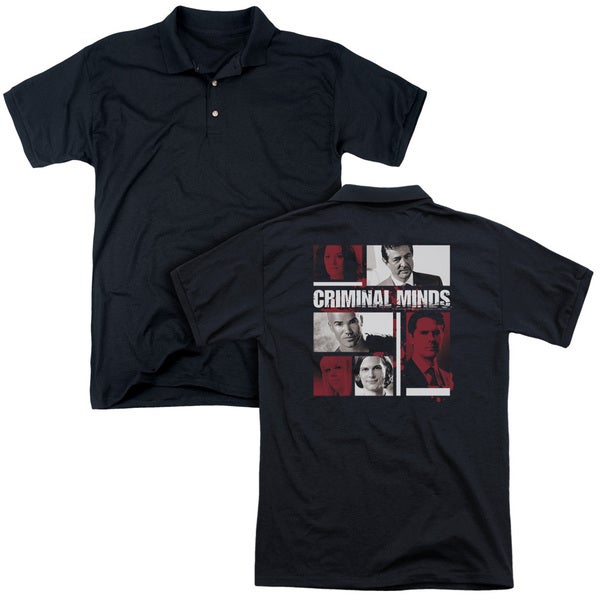 Criminal Minds/Character Boxes (Back Print) Mens Regular Fit Polo in Black