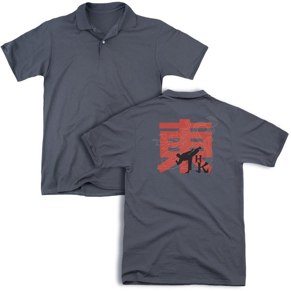 Hai Karate/Hk Kick (Back Print) Mens Regular Fit Polo in Charcoal