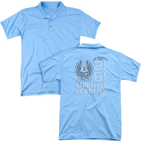 Star Trek/2161 (Back Print) Mens Regular Fit Polo in Carolina Blue
