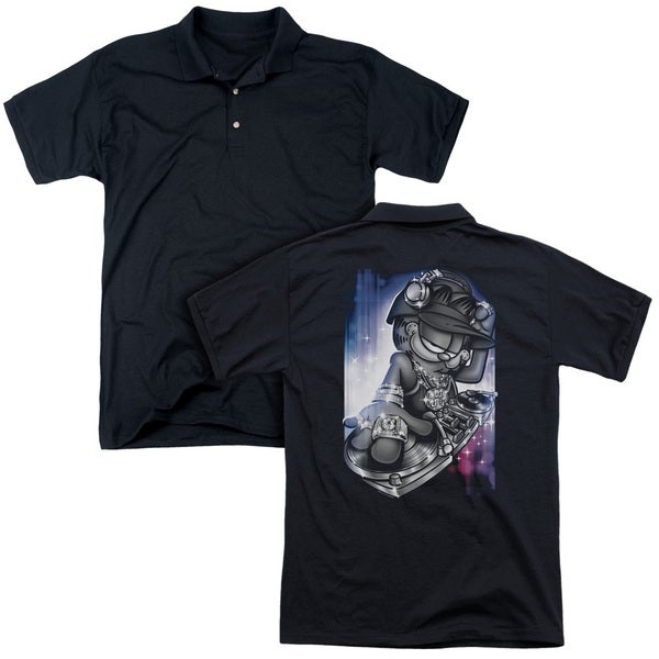 Garfield/Dj Lazy (Back Print) Mens Regular Fit Polo in Black