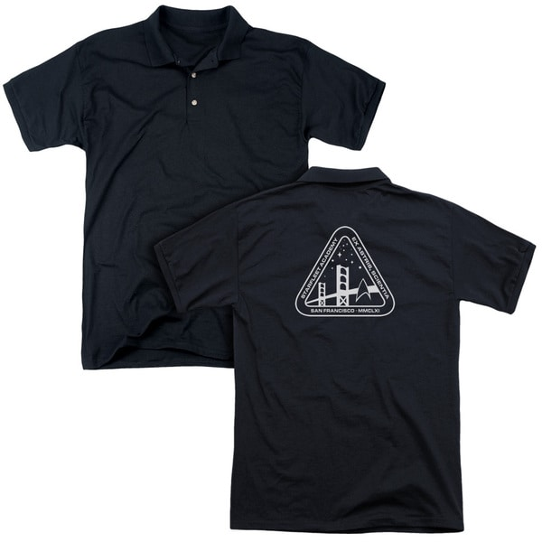 Star Trek/White Academy Logo (Back Print) Mens Regular Fit Polo in Black