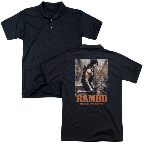 Rambo:First Blood Ii/The Hunt (Back Print) Mens Regular Fit Polo in Black