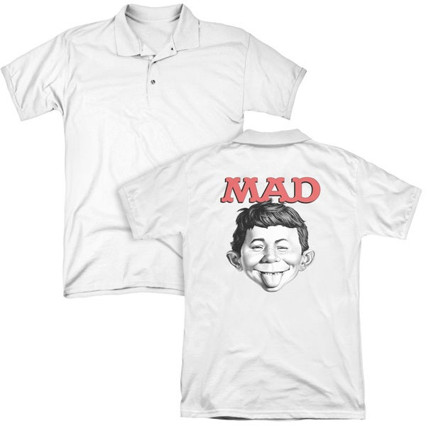 Mad/U Mad (Back Print) Mens Regular Fit Polo in White
