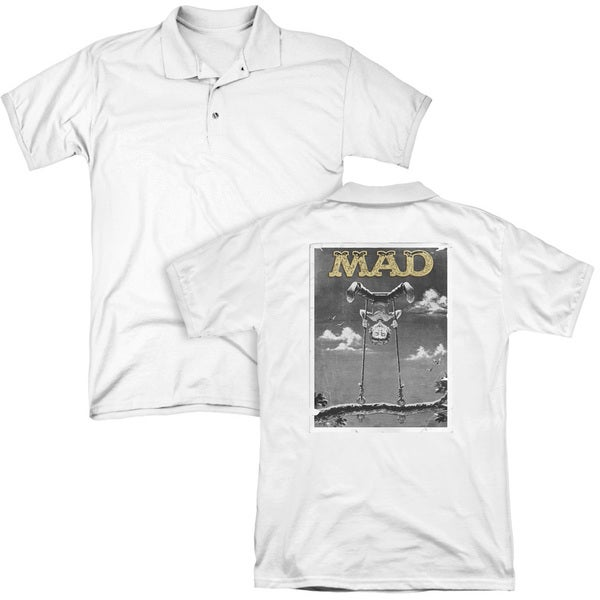 Mad/Swinger (Back Print) Mens Regular Fit Polo in White