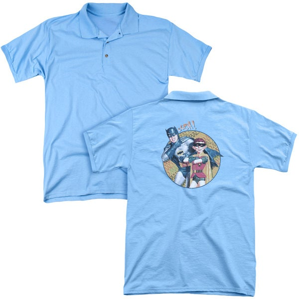 Mad/Batman and Alfred (Back Print) Mens Regular Fit Polo in Carolina Blue