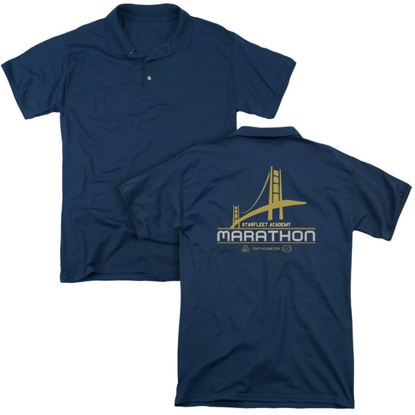 Star Trek/Marathon Logo (Back Print) Mens Regular Fit Polo in Navy