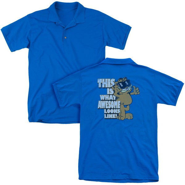 Garfield/Awesome (Back Print) Mens Regular Fit Polo in Royal