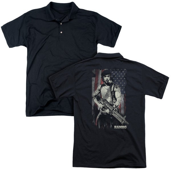 Rambo:First Blood/Worn Liberty (Back Print) Mens Regular Fit Polo in Black