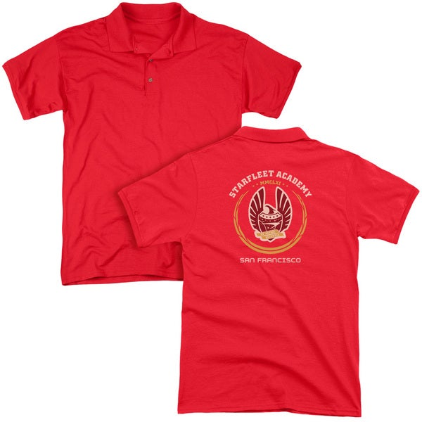 Star Trek/Academy Heraldry (Back Print) Mens Regular Fit Polo in Red