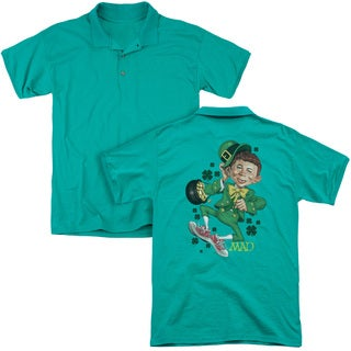 Mad/Lucky Mad (Back Print) Mens Regular Fit Polo in Kelly Green