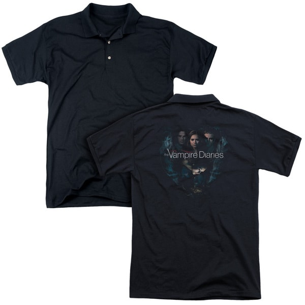 Vampire Diaries/Hearts Desire (Back Print) Mens Regular Fit Polo in Black