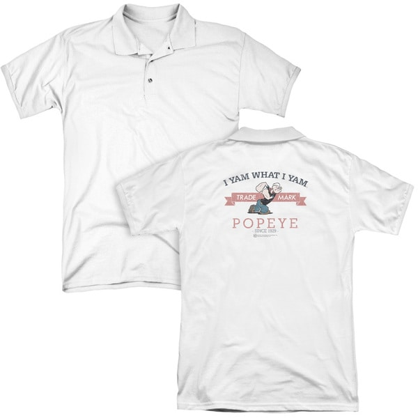 Popeye/Vintage (Back Print) Mens Regular Fit Polo in White
