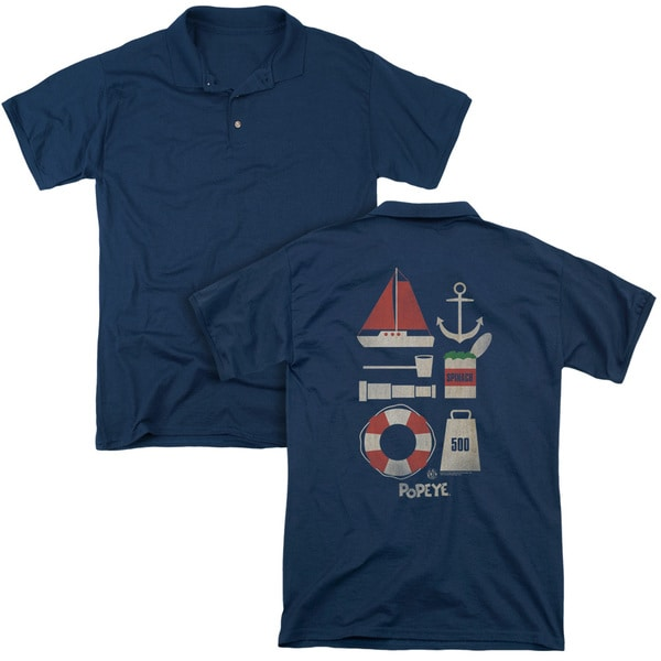 Popeye/Items (Back Print) Mens Regular Fit Polo in Navy