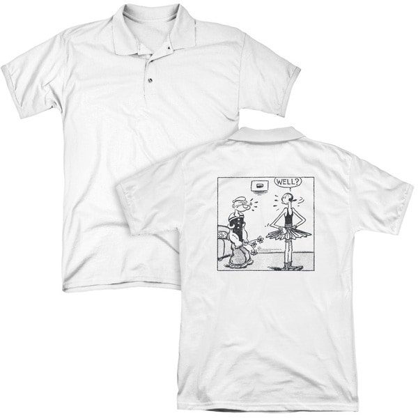 Popeye/Well (Back Print) Mens Regular Fit Polo in White
