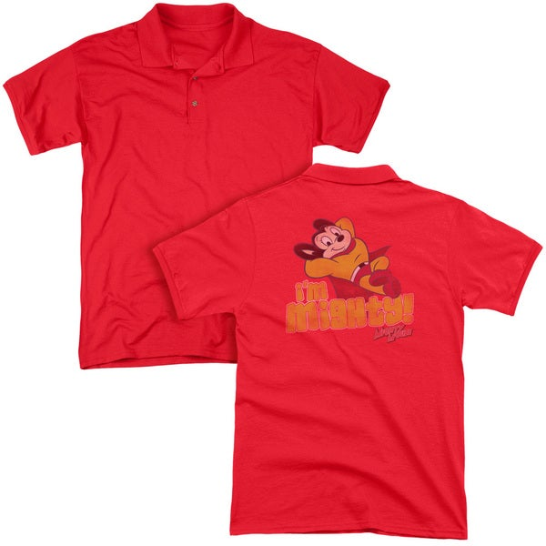 Mighty Mouse/I'M Mighty (Back Print) Mens Regular Fit Polo in Red