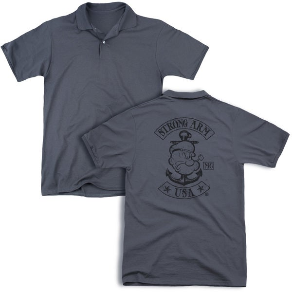 Popeye/Strong Arm Mc (Back Print) Mens Regular Fit Polo in Charcoal