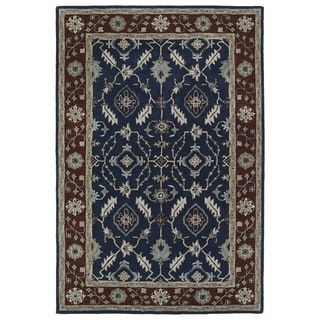 Hand-Tufted Perry Navy Global Wool Rug (8'0 x 10'0)