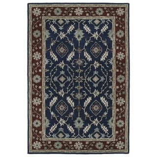 Hand-Tufted Perry Navy Global Wool Rug (9'0 x 12'0)