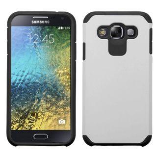 Insten Silver/ Black Hard PC/ Silicone Dual Layer Hybrid Rubberized Matte Case Cover For Samsung Galaxy E5