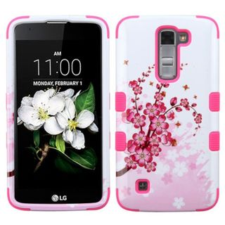 Insten Pink/ White Spring Flowers Tuff Hard PC/ Silicone Dual Layer Hybrid Rubberized Matte Case Cover For LG K7