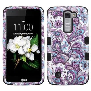Insten Purple/ White European Flowers Tuff Hard PC/ Silicone Dual Layer Hybrid Rubberized Matte Case Cover For LG K7