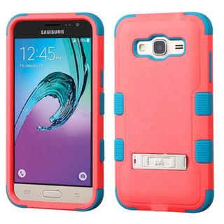 Insten Red/ Teal Hard PC/ Silicone Dual Layer Hybrid Rubberized Matte Case Cover with Stand For Samsung Galaxy J3