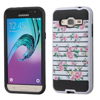 Insten Pink/ White Fresh Roses Hard PC/ Silicone Dual Layer Hybrid Rubberized Matte Case Cover For Samsung Galaxy J3