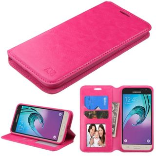 Insten Hot Pink Leather Case Cover with Stand/ Wallet Flap Pouch/ Diamond/ Photo Display For Samsung Galaxy J3