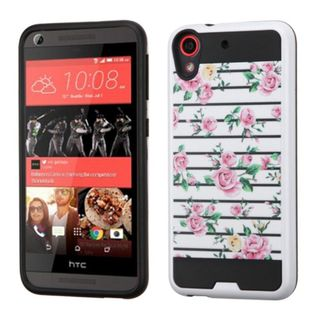 Insten Pink/ White Fresh Roses Hard PC/ Silicone Dual Layer Hybrid Rubberized Matte Case Cover For HTC Desire 626/ 626s